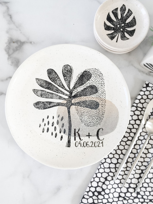 Personalized Modern Botanical Monogram Wedding Plate