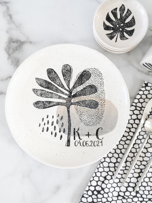 Personalized Modern Botanical Monogram Wedding Plate