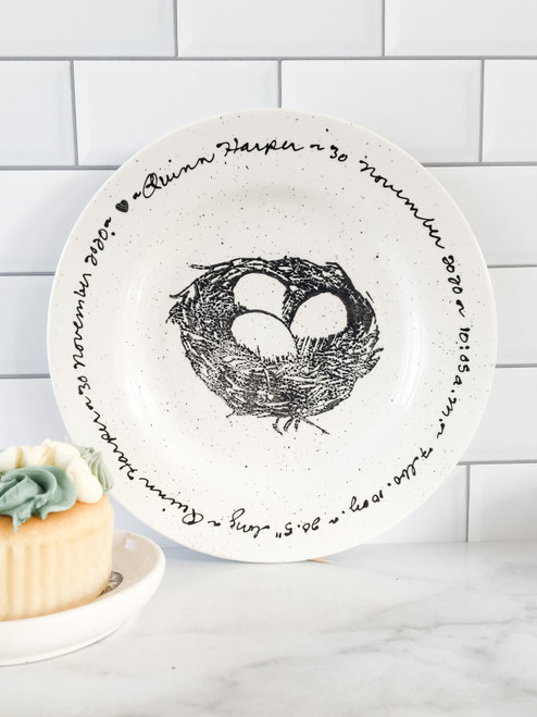 Personalized Nest New Baby Birth Stats Plate
