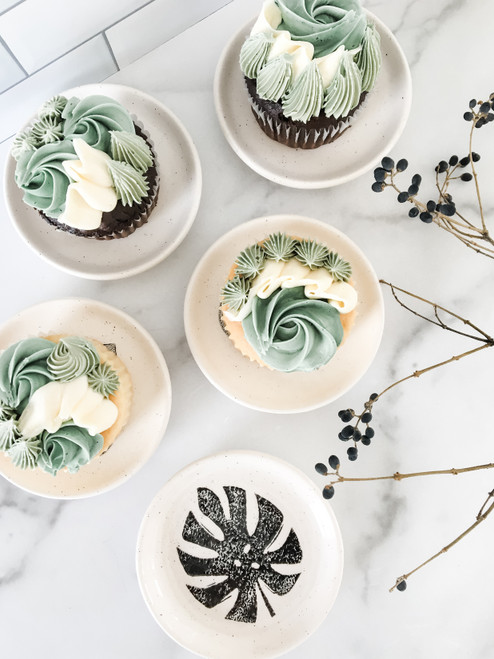 Monstera Leaf Ceramic Cupcake Plate Party Favor Set of 6