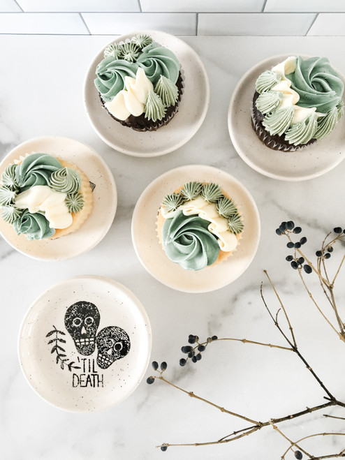 Til Death Skulls Ceramic Cupcake Plate Party Favor Set of 6