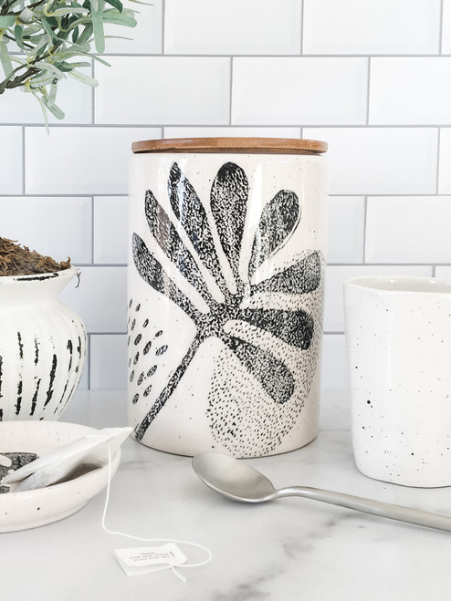 Modern botanical ceramic kitchen canister with bamboo lid