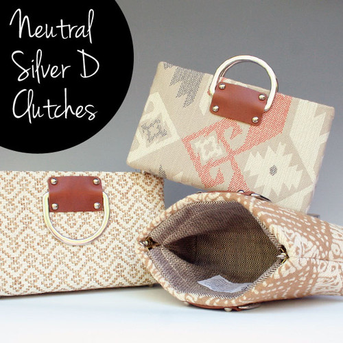 Neutral Silver D Handbags