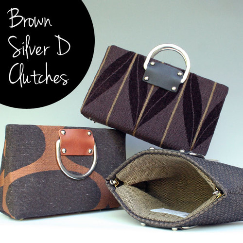 Brown Silver D Handbags