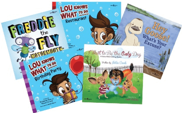 Book Covers of Freddie the Fly: Motormouth, Lou Knows What to Do: Restaurant, Lou Knows What to Do: Birthday Party, Hey Goose! What's Your Excuse?, I Want to Be the Only Dog