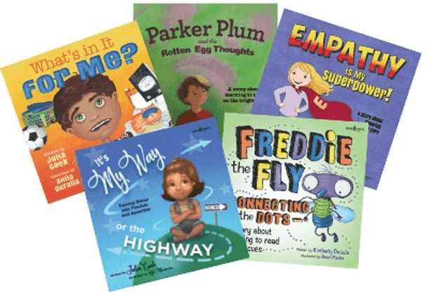 Book Covers of What's in It For Me?, Parker Plum and the Rotten Egg Thoughts, Empathy is My Superpower, It's My Way or the Highway, Freddie the Fly: Connecting the Dots