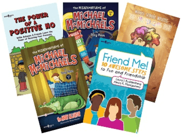 Book Covers of The Power of a Positive No, Michael McMichaels: The Angry Alligator, Michael McMichaels: The Double-Dog Dare, Friend Me!, Middle School Misfits: The Stained Glass Tree