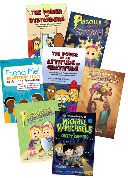 Book Covers of The Power of Bystanders, The Power of an Attitude of Gratitude, Middle School Misfits: The Stained Glass Tree, Friend Me!, The Misadventures of Michael McMicaels: The Creepy Campers, Priscilla's Predicament... The Worrywart Woes, Priscilla and the Perfect Storm
