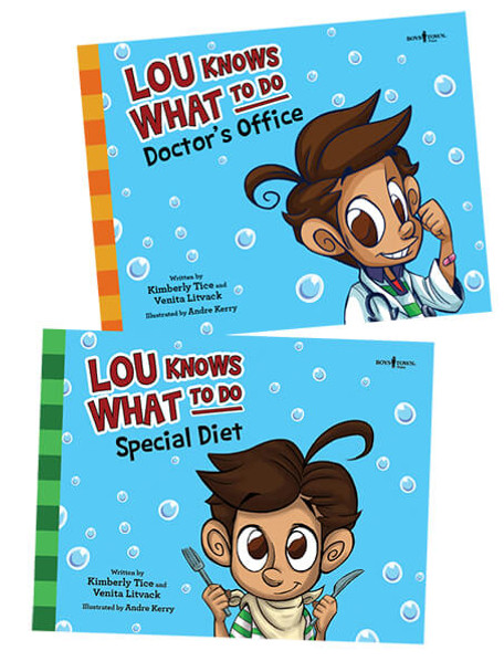 Book Covers of Lou Knows What to Do: Doctor's Office and Special Diet Set of 2 Storybooks