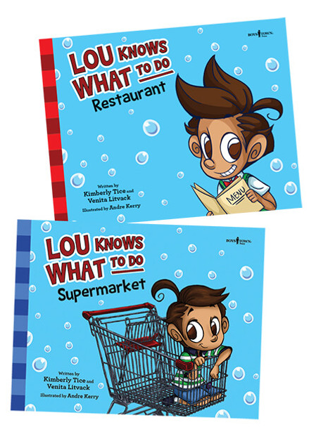 Book Covers of Lou Knows What to Do: Restaurant and Supermarket Set of 2 Storybooks