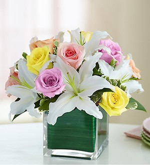 Pastel Rose And Lily Cube Bouquet