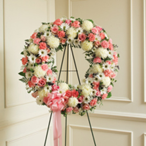Pink & White Standing Wreath