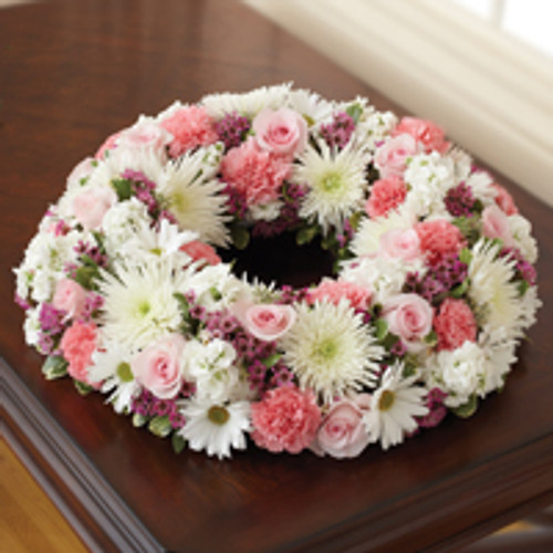 Pink & White Cremation Wreath