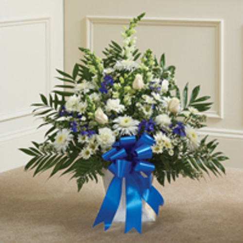 Blue & White Sympathy Floor Basket