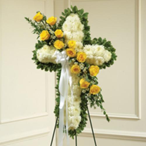 Yellow & White Stnading Cross with Yellow Rose Break