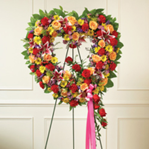 Multicolor Bright Standing Open Heart