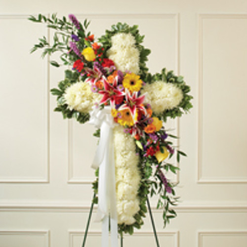 Solid White Standing Cross with Bright Flower Break