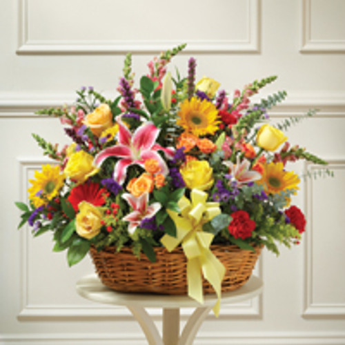 Large Sympathy Arrangement in Basket-Multicolor Bright Mixed Flowers