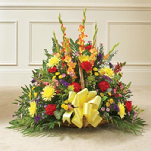 Multicolor Bright Mixed Flower Fireside Basket