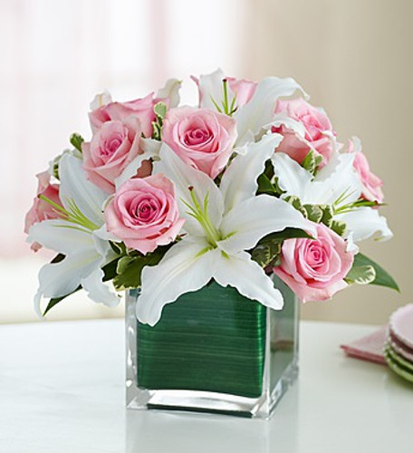 Pink Rose And Lily Cube Bouquet