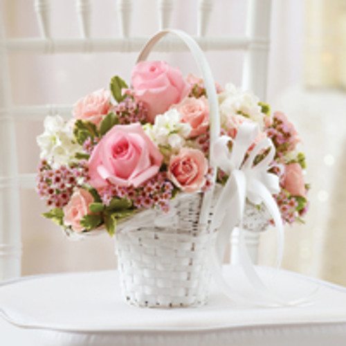 Pink Flower Girl Basket