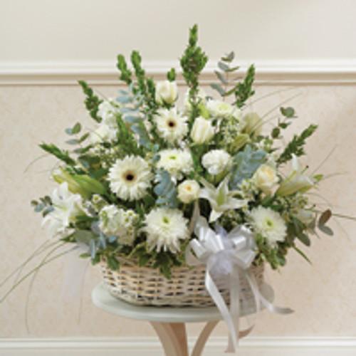 White Large Sympathy Arrangement in Basket