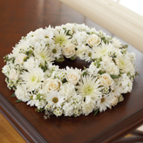 All White Cremation Wreath