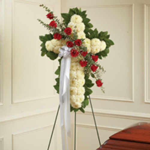Red and White Standing Cross with Red Rose Break