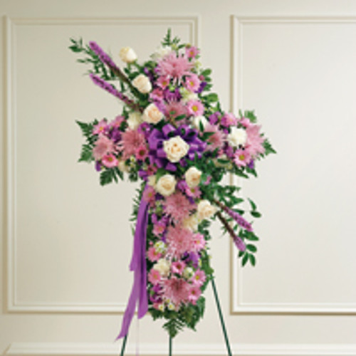 Lavender & White Mixed Standing Cross