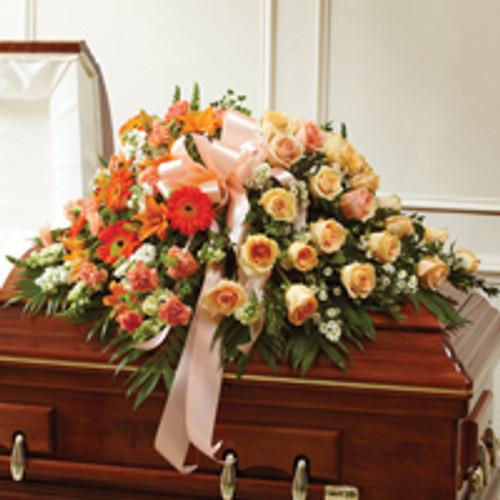 Peach, Orange & White Mixed Haslf Casket Cover