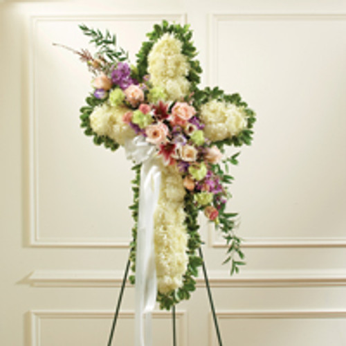 Solid White Standing Cross with Pastel Flower Break
