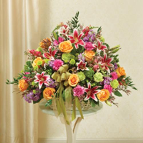 Large Sympathy  Arrangement in Basket-Multicolor Pastel Mixed Flowers
