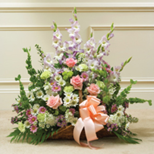 multicolor pastel mixed flower fireside basket