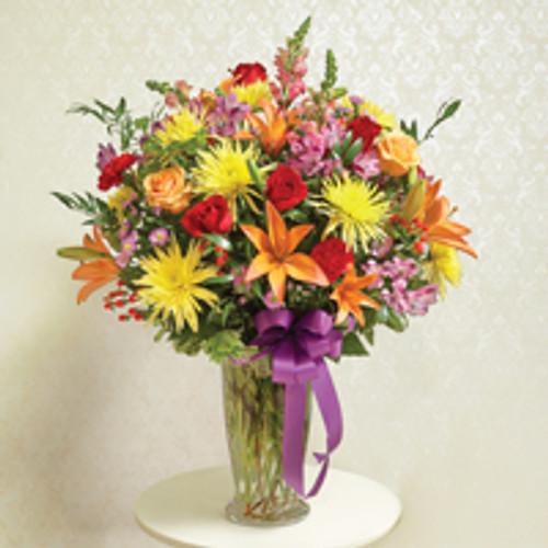 Multicolor Bright Large Sympathy Vase Arrangement