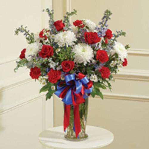 Red, White & Blue Large Sympathy Vase Arrangement