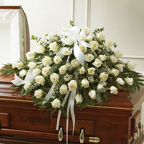White Roses Half Casket Cover