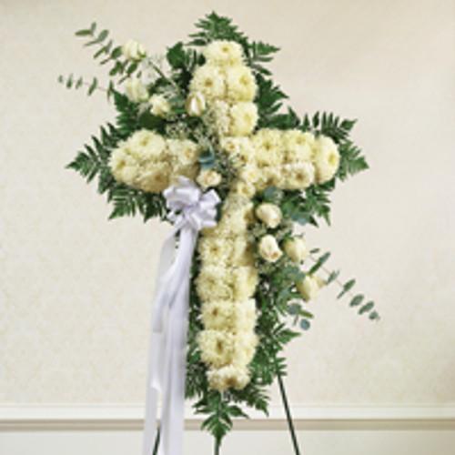 White Standing Cross with White Rose Break