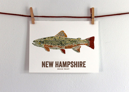 New Hampshire State Fish Art - Brook Trout