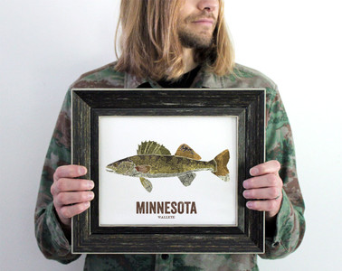 Minnesota State Fish, Map art - Walleye