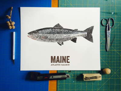 Maine State Fish Art - Atlantic Salmon