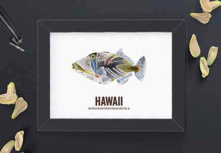 Hawaii State Fish, Map art - Humuhumunukunukuapua'a