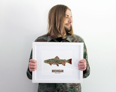 Michigan State Fish, Map art - Brook Trout
