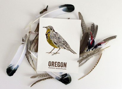 Oregon State Bird Art, Map prints - WESTERN MEADOWLARK