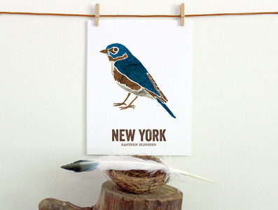 New York State Bird, Map prints Eastern Bluebird