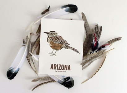 Arizona State Bird, Map prints - CACTUS WREN
