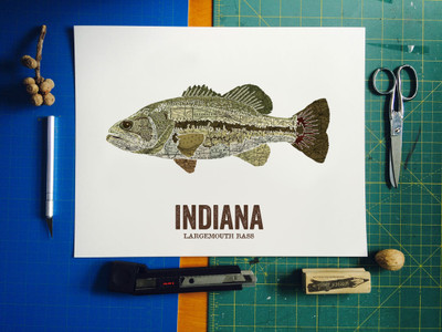 Indiana State Fish, Map art - Largemouth Bass
