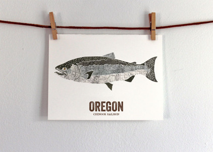 Oregon State Fish, Map art - Chinook Salmon