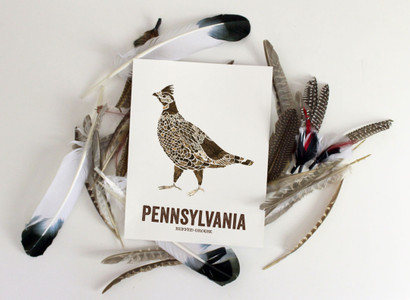 Pennsylvania State Bird, Map prints - Ruffed Grouse