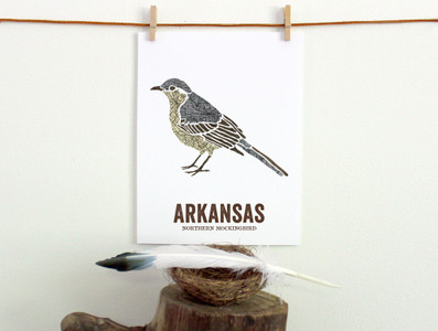 Arkansas State Bird, Map prints -  NORTHERN MOCKINGBIRD