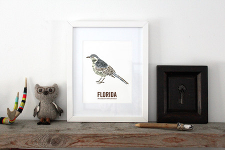 Florida State Bird, Map Art- Northern Mockingbird